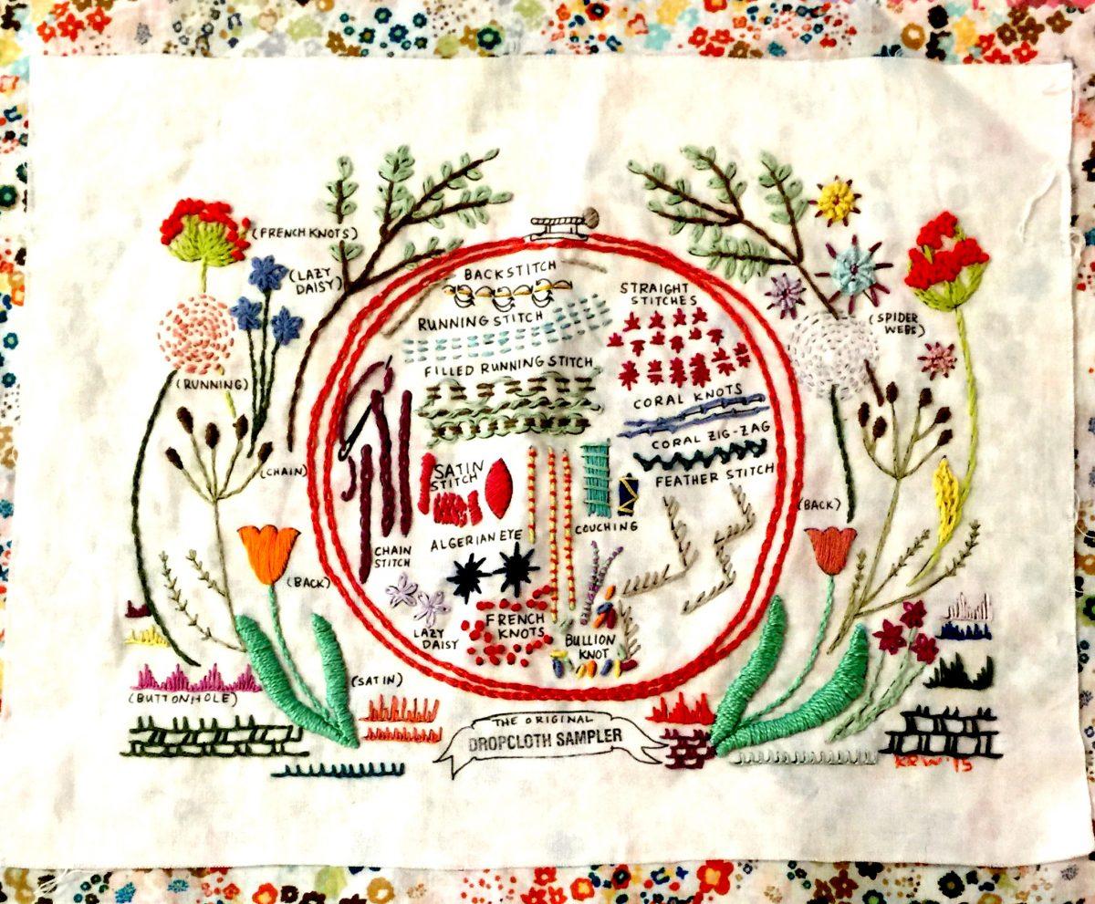 Embroidery workshop dropcloth sampler ephemera paducah